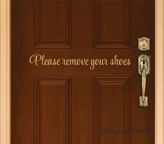 Remove Your Shoes Vinyl Door Decal Front Door Decals Custom - Custom vinyl decals for cars   removal options