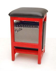 ROCKIN' STOOL  - Guitar or Bass Stool with NEW Amplifier custom mounted!!! by FendersDesigns on Etsy https://www.etsy.com/listing/223526247/rockin-stool-guitar-or-bass-stool-with