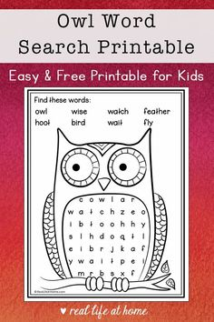 This easy owl word search printable is a wonderful fall activity for elementary-aged kids. It features 8 words about owl plus a coloring area. #FallWordSearch #Owls