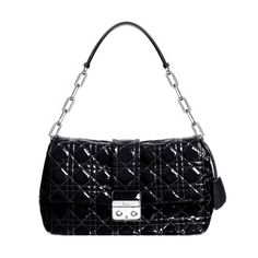 """Christian Dior m900 new lock bag in black patent leather The range owes its name to the """"New Look"""" invented by Christian Dior in 1947 with its sophisticated original clasp. Size: 30 x 20 x 12 cm - This black lambskin bag with 'Cannage' stitching comes with leather handle and silver-tone metal chain. - Flap closure and silver-tone metal double button press-stud clasp engraved with """"Dior"""". - 3 compartments 1 zipped pocket Product ID: M9803PVRK M900"""