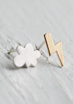 Thunder & Lightening Earrings Silver Rain Cloud Gold Lightening Bolt Seattle…