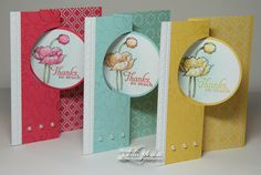 set of circle flip cards from LW Designs: Flippin' Friday : Simply Sketched Trio . delightful coloring and tinting of the background . some patterned paper and pearls, Stampin' Up! Flip Cards, Fun Fold Cards, Pop Up Cards, Folded Cards, Cool Cards, Step Card, Stampin Up, Swing Card, Shaped Cards