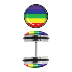 Steel Faux Plugs with Rainbow Logo Front. Sold as a pair Body Jewelry, Jewlery, Unique Jewelry, Fake Plugs, Rainbow Logo, Brass Knuckles, Innovation Design, Trending Outfits, Steel