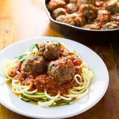 These Grain Free Italian Meatballs are light and full of vegetables.  Great with your favorite marinara over zoodles!
