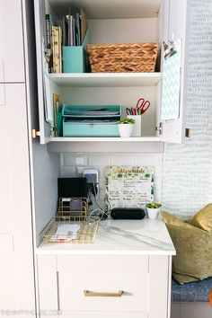 How to Setup a Command Center in a Kitchen Cabinet Kitchen Desks, Small Kitchen Cabinets, Small Space Kitchen, Small Cabinet, Amy's Kitchen, Linen Closet Organization, Clutter Organization, Kitchen Organization, Organizing Life