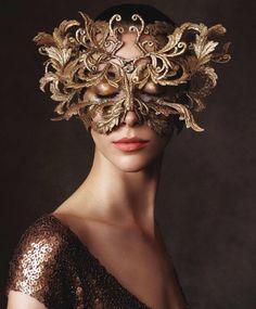 Ball Mask. Harper's Bazaar:October 2013 - Alana Zimmer by Victor Demarchelier.