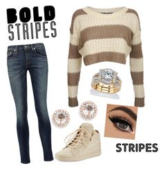 """""""Big, Bold Stripes"""" by backwoodsbeautyqueen94 on Polyvore featuring Pilot, R13, Giuseppe Zanotti, EF Collection, Palm Beach Jewelry and BoldStripes"""