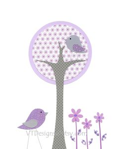 Baby Girl Nursery Art, Nursery Decor, Kids Wall Art, Girl's Room Decor, Tree, Bird, Purple, Lavender, Gray, Quinn's Tree, 8x10 Print