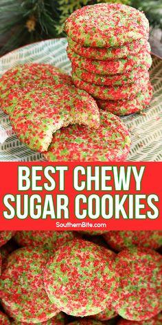 Crinkle Cookies, Chewy Sugar Cookies, Sugar Cookies Recipe, Yummy Cookies, Holiday Cookies, Cookie Desserts, Holiday Desserts, Holiday Baking, Holiday Recipes