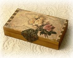 Caja de dinero de decoupage, caja de dinero de estilo vintage, vintge estilo lápiz caja, caja de rosas vintage