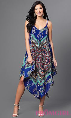 Sleeveless Print Handkerchief Dress at PromGirl.com