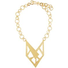 Stephanie Kantis Contour 24K Gold-Plated Necklace ($284) ❤ liked on Polyvore featuring jewelry, necklaces, gold, geometric necklace, gold plated pendant necklace, pendant necklaces, geometric pendant and 24 karat gold necklace