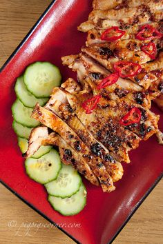 Malaysian Spicy Grilled Chicken (Ayam Percik) - looks spicy! Duck Recipes, Asian Recipes, Great Recipes, Chicken Recipes, Favorite Recipes, Healthy Recipes, Healthy Eats, Malaysian Cuisine, Malaysian Food