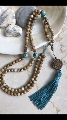 108 beads 108 beads - Mala beads how to make - Mala Necklace Diy, Beaded Tassel Necklace, Tassel Jewelry, Yoga Jewelry, Beaded Jewelry, Beaded Bracelets, Jewellery, Handmade Necklaces, Handcrafted Jewelry