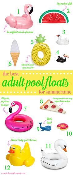 The gosh darn cutest adult pool floats for spring break! I've got my eye on the watermelon slice, rubber ducky, and both inflatable flamingos.