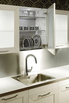 51 Trendy Kitchen Storage Ideas For Pots And Pans Sinks Kitchen Shelf Design, Kitchen Shelves, Kitchen Interior, New Kitchen, Kitchen Storage, Kitchen Decor, Kitchen Sink, Kitchen Drying Rack, Drying Racks