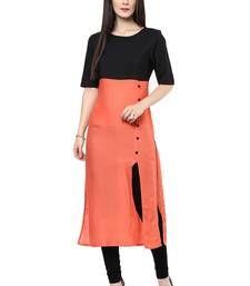 Buy Orange and black plain cotton kurti kurtas-and-kurti online