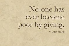 Never stop giving