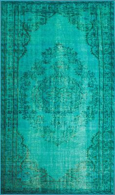 Nuloom DIRE1D-406 Remade Overdyed Collection Turquoise Finish Machine Made Vintage Inspired Overdyed Rug