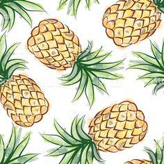 Abacaxi padrão perfeito fundo aquarela de frutas tropicais vetor e ilustração royalty-free royalty-free