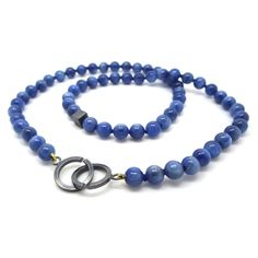 ORRO Contemporary Jewellery Glasgow - ORRO - Blue Kyanite Necklace - 18ct yellow gold - Hand knotted on silk - Blue Kyanite Beads