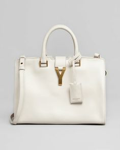 Y-Ligne Cabas Mini Leather Bag, White by Saint Laurent at Bergdorf Goodman.