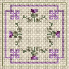 Possible Biscornu design for my Thistle Stitcher's Purse.  O.o.