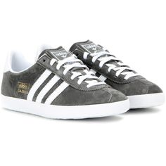 Adidas Gazelle Suede Sneakers (€94) ❤ liked on Polyvore featuring shoes, sneakers, grey, gray shoes, suede sneakers, grey suede sneakers, grey sneakers and adidas trainers