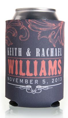 Personalized wedding beer coozies! What an idea!