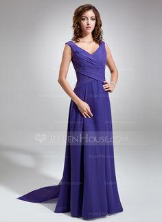 Bridesmaid Dresses - $118.99 - A-Line/Princess V-neck Floor-Length Chiffon Bridesmaid Dress With Ruffle (007001484) http://jenjenhouse.com/A-Line-Princess-V-Neck-Floor-Length-Chiffon-Bridesmaid-Dress-With-Ruffle-007001484-g1484?ver=1