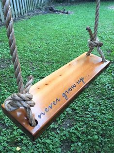 Never Grow Up Wooden Rope Swing Natural Wood Tree Swing Outdoor Wooden Swing, Wood Swing, Outdoor Trees, Outdoor Fun, Wooden Tree Swing, Natural Outdoor Playground, Outdoor Swings, Garden Swings, Outdoor Tree Decorations