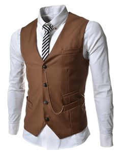 TheLees (GVE) Mens Business Slim Fit Chain Point 4 Button Vest Waist Coat Brown XX-Large(US X-Large)