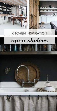 Keuken inspiratie Open Shelving, Shelves, Black Walls, Sweet Home, Mirror, Wood, Kitchen, Villa, Farmhouse