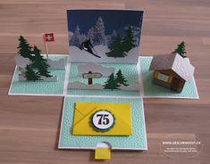 Geschenkbox Überraschungsbox Explosionsbox Snowboard Skifahren Winter Skiferien