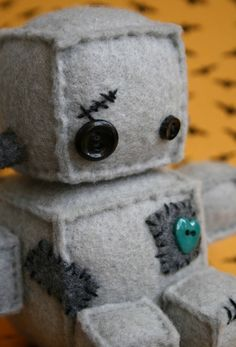 Frankenteeny the wee Robot by Littlebrownbyrd on Etsy