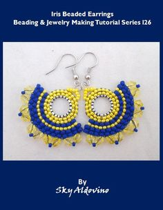 Iris Beaded Earrings Beading & Jewelry Making Tutorial l26