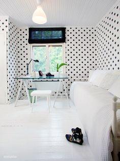 white, black, dots, wallpaper - living room