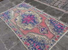 Turkish Vintage Pile Rug Muted Color Rug Cappadocia Rug