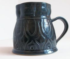 Unique Coffee Mug, Handmade Ceramic Mug, Dark Teal Mug, Dark Turquoise Mug, Large Coffee Mug, Dark Blue Mug, Unique Mug, Unique Gift by ACoupleofCranes on Etsy