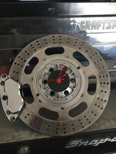 Wall Clock made from used motorcycle brake rotor and caliper. SOLD no longer available