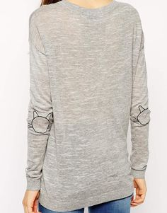 Sweater With Cat Elbow Patch