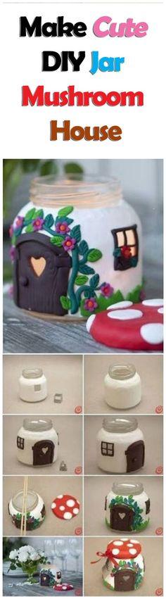 How to Make Cute DIY Jar Mushroom House