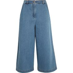 Fendi Denim culottes (13.929.255 VND) ❤ liked on Polyvore featuring pants, capris, bottoms, jeans, culottes, denim, light blue, wide leg flare pants, wide leg denim trousers and wide leg cropped trousers