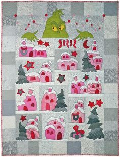 """The custom Grinch / Whoville quilt Deidre M. always wanted, created just for her (that's me!), by Whimzie Quiltz and More #whimziequiltz  (I call this one """"Down in Whoville"""")"""