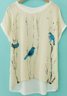 Beige Short Sleeve Birds Print Chiffon T-Shirt US$12.67