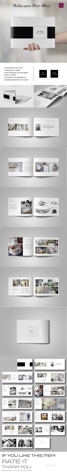 Multipurpose Landscape Photo Album Template InDesign INDD. Download here: http://graphicriver.net/item/multipurpose-landscape-photo-album/15328290?ref=ksioks