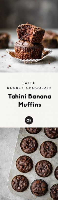 Double chocolate tah Double chocolate tahini banana muffins that are both paleo dairy free and gluten free. These healthy chocolate muffins are the perfect treat to pack in a lunch box or share with friends! Healthy Chocolate Muffins, Healthy Muffins, Chocolate Recipes, Paleo Chocolate, Paleo Banana Muffins, Chocolate Frosting, Baking Recipes, Snack Recipes, Dessert Recipes