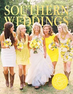 Cowboy boots and mismatched bridesmaid dresses -  equation for a gorgeous wedding #bridesmaids #weddings