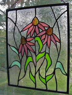 Purple Cone Flower Stained Glass Panel by RedfordGlassStudio, via Flickr