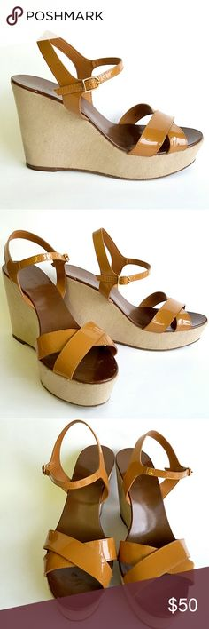 """J.Crew Patent Leather Wedge Sandal Gorgeous caramel patent leather criss-cross sandal. 4.5"""" wedge with a 1.5"""" platform. Super comfortable and classy. Minimal signs of wear, only one tiny tear inside the strap (ladt pic) totally invisible and not compromising the quality at all.  In excellent condition. J. Crew Shoes Espadrilles"""